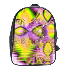 Golden Violet Crystal Heart Of Fire, Abstract School Bag (Large)