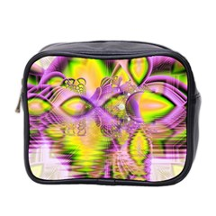 Golden Violet Crystal Heart Of Fire, Abstract Mini Travel Toiletry Bag (Two Sides)