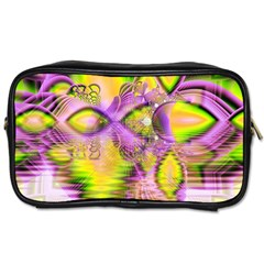 Golden Violet Crystal Heart Of Fire, Abstract Travel Toiletry Bag (one Side)