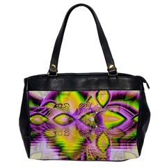 Golden Violet Crystal Heart Of Fire, Abstract Oversize Office Handbag (one Side)
