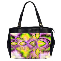 Golden Violet Crystal Heart Of Fire, Abstract Oversize Office Handbag (Two Sides)