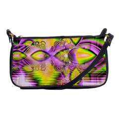 Golden Violet Crystal Heart Of Fire, Abstract Evening Bag