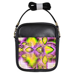 Golden Violet Crystal Heart Of Fire, Abstract Girl s Sling Bag