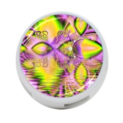 Golden Violet Crystal Heart Of Fire, Abstract 4-Port USB Hub (One Side)