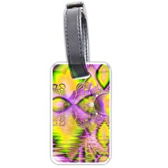 Golden Violet Crystal Heart Of Fire, Abstract Luggage Tag (One Side)
