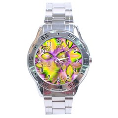 Golden Violet Crystal Heart Of Fire, Abstract Stainless Steel Watch
