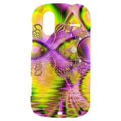 Golden Violet Crystal Heart Of Fire, Abstract HTC Amaze 4G Hardshell Case