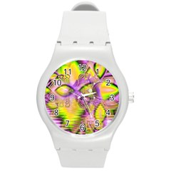 Golden Violet Crystal Heart Of Fire, Abstract Plastic Sport Watch (Medium)