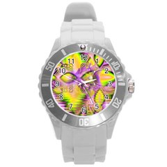 Golden Violet Crystal Heart Of Fire, Abstract Plastic Sport Watch (Large)