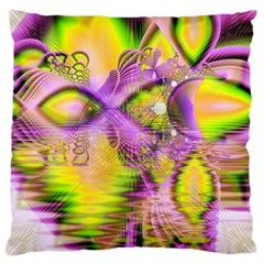 Golden Violet Crystal Heart Of Fire, Abstract Large Cushion Case (Two Sided)