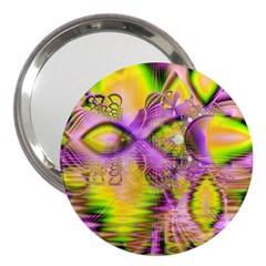 Golden Violet Crystal Heart Of Fire, Abstract 3  Handbag Mirror