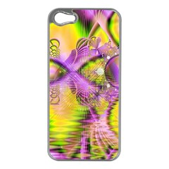 Golden Violet Crystal Heart Of Fire, Abstract Apple iPhone 5 Case (Silver)