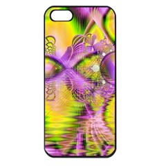 Golden Violet Crystal Heart Of Fire, Abstract Apple Iphone 5 Seamless Case (black)