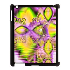 Golden Violet Crystal Heart Of Fire, Abstract Apple iPad 3/4 Case (Black)