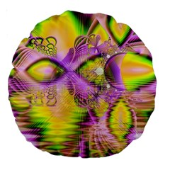 Golden Violet Crystal Heart Of Fire, Abstract 18  Premium Round Cushion