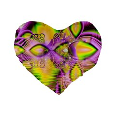Golden Violet Crystal Heart Of Fire, Abstract 16  Premium Heart Shape Cushion