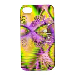Golden Violet Crystal Heart Of Fire, Abstract Apple iPhone 4/4S Hardshell Case with Stand