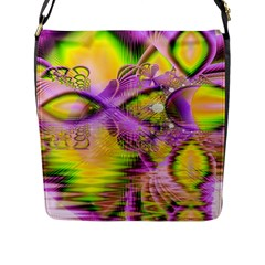 Golden Violet Crystal Heart Of Fire, Abstract Flap Closure Messenger Bag (large)