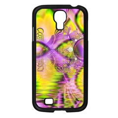 Golden Violet Crystal Heart Of Fire, Abstract Samsung Galaxy S4 I9500/ I9505 Case (Black)