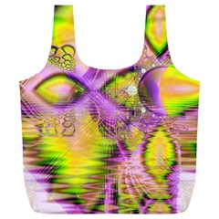 Golden Violet Crystal Heart Of Fire, Abstract Reusable Bag (XL)