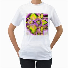 Golden Violet Crystal Heart Of Fire, Abstract Women s T-Shirt (White)