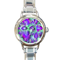 Violet Peacock Feathers, Abstract Crystal Mint Green Round Italian Charm Watch