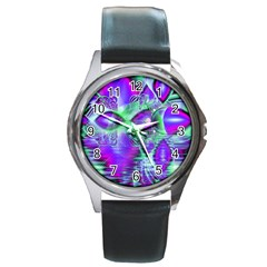 Violet Peacock Feathers, Abstract Crystal Mint Green Round Leather Watch (Silver Rim)