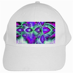 Violet Peacock Feathers, Abstract Crystal Mint Green White Baseball Cap