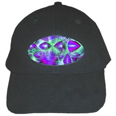 Violet Peacock Feathers, Abstract Crystal Mint Green Black Baseball Cap