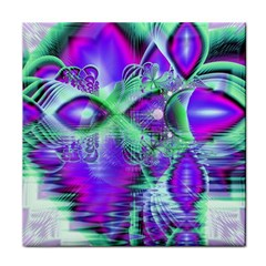 Violet Peacock Feathers, Abstract Crystal Mint Green Ceramic Tile