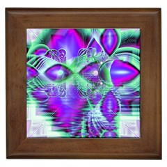 Violet Peacock Feathers, Abstract Crystal Mint Green Framed Ceramic Tile