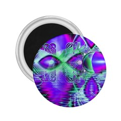 Violet Peacock Feathers, Abstract Crystal Mint Green 2.25  Button Magnet