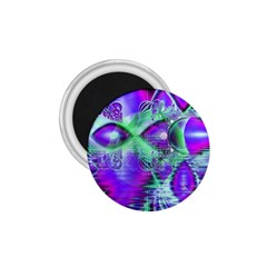 Violet Peacock Feathers, Abstract Crystal Mint Green 1.75  Button Magnet