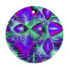 Violet Peacock Feathers, Abstract Crystal Mint Green Round Ornament