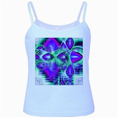 Violet Peacock Feathers, Abstract Crystal Mint Green Baby Blue Spaghetti Tank