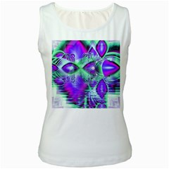 Violet Peacock Feathers, Abstract Crystal Mint Green Women s Tank Top (White)