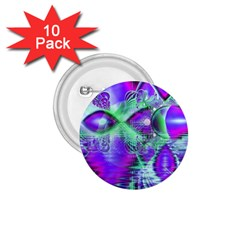 Violet Peacock Feathers, Abstract Crystal Mint Green 1.75  Button (10 pack)