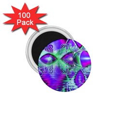 Violet Peacock Feathers, Abstract Crystal Mint Green 1.75  Button Magnet (100 pack)