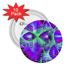 Violet Peacock Feathers, Abstract Crystal Mint Green 2.25  Button (10 pack)