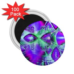Violet Peacock Feathers, Abstract Crystal Mint Green 2.25  Button Magnet (100 pack)