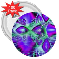 Violet Peacock Feathers, Abstract Crystal Mint Green 3  Button (100 pack)