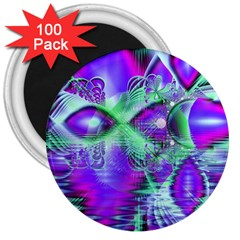 Violet Peacock Feathers, Abstract Crystal Mint Green 3  Button Magnet (100 pack)