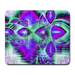 Violet Peacock Feathers, Abstract Crystal Mint Green Large Mouse Pad (Rectangle)