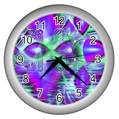 Violet Peacock Feathers, Abstract Crystal Mint Green Wall Clock (Silver)