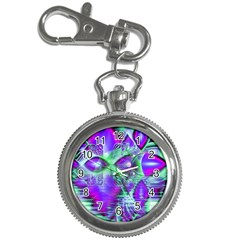Violet Peacock Feathers, Abstract Crystal Mint Green Key Chain Watch