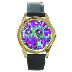 Violet Peacock Feathers, Abstract Crystal Mint Green Round Leather Watch (Gold Rim)