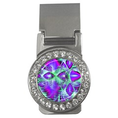 Violet Peacock Feathers, Abstract Crystal Mint Green Money Clip (CZ)