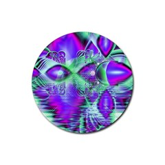 Violet Peacock Feathers, Abstract Crystal Mint Green Drink Coaster (Round)
