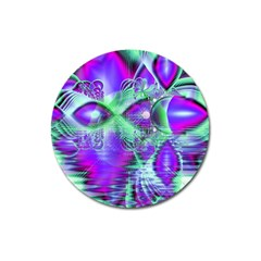 Violet Peacock Feathers, Abstract Crystal Mint Green Magnet 3  (Round)