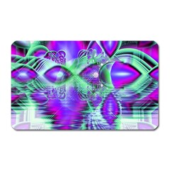Violet Peacock Feathers, Abstract Crystal Mint Green Magnet (Rectangular)